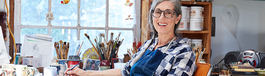 retired woman in art studio