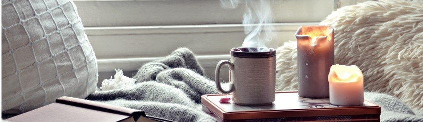 Candle and blanket cozy image post